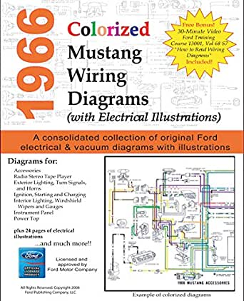 1966 Colorized Mustang Wiring Diagrams Motor Company Ford Ebook Amazon Com