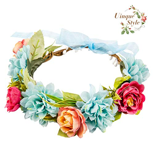 Flower Crowns Floral Headbands for Pregnant Women Girls Baby Photo Props, Adjustable Hair Wreath Halo Headpiece for Wedding Festival Party - Blue