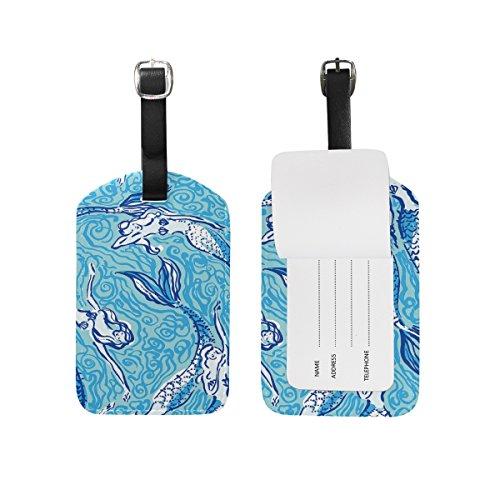 Mermaid Genuine Leather Travel Luggage Baggage Handbag Tags Suitcase ID Labels
