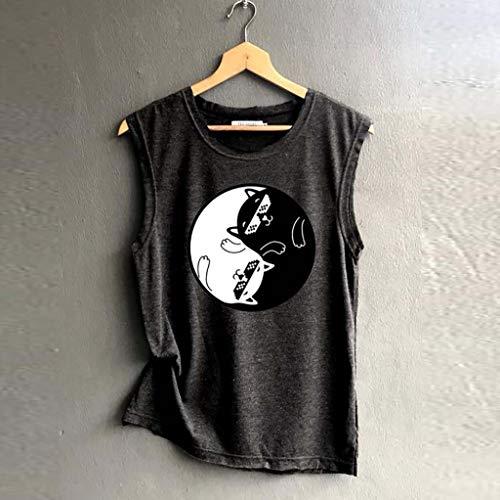 Tank Sammoson Fiesta Grandes Tallas Blusa Mujer Tops ❤️s~2xl Camisetas Sin Mangas Verano Negro01 2019 Elegante Sport garg6