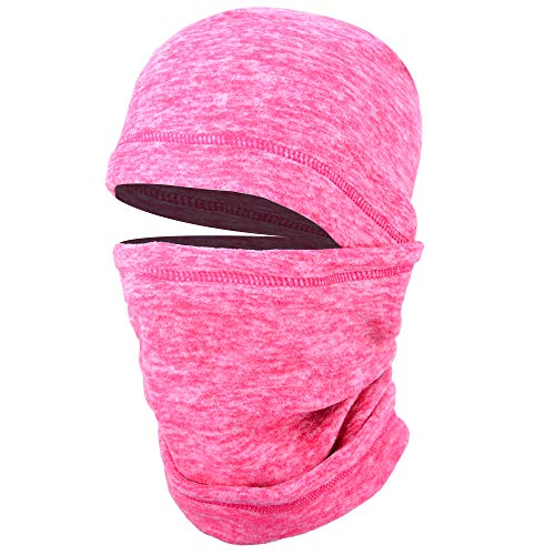 JIUSY 1 Pack - Thick Fleece Balaclava Neck Warmer Hood Cover Face Mask Windproof Wind Dust Protection for Ski Snowboard Hunting Hiking Walker Camping Cycling Cold Weather Winter Gear Rose Red (Red Face Cold Weather)