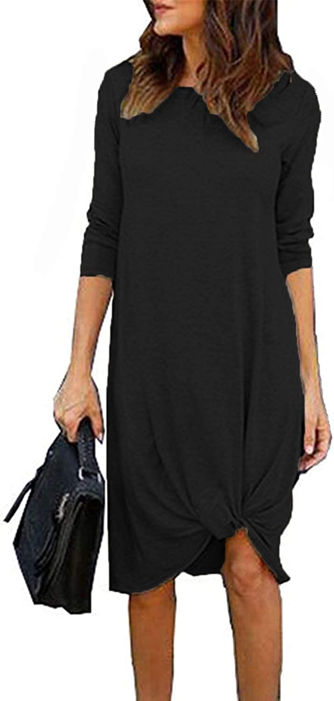 Chvity Womens Casual Long Sleeve Twist Tie Front Knot Midi Dress T Shirt Fall Dresses