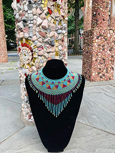 (Amor Mio Beaded Collar Necklace Beautiful Pretty Elegant Beaded (Turquoise, Red and Gold with Fringe))