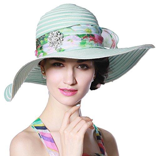 June's Young Chapeau Femmes Eléglant Anti Soleil Plage Voyage Mariage Vacances Style décontracté Vert menthe