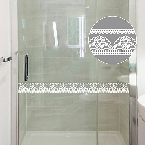 SimpleLife4U White Lace Transparent Removable Wallpaper Border Shop Display Window Sticker Bathroom -