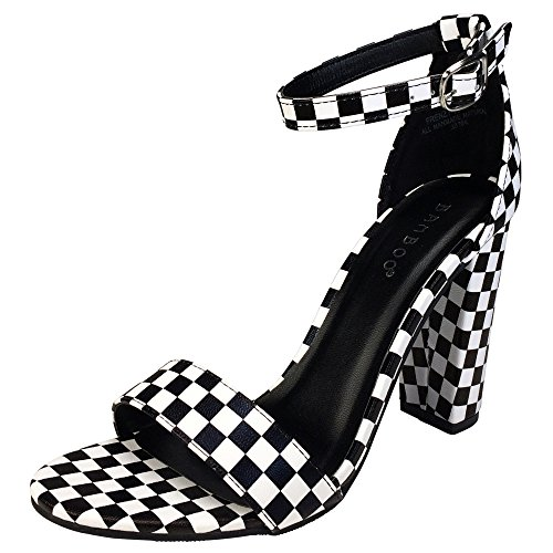 (BAMBOO Women's Single Band Chunky Heel Sandal with Ankle Strap, Black + White, 8.5 B US)