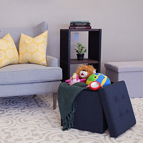 Seville Classics Foldable Tufted Storage Ottoman, Midnight Blue by Seville Classics (Image #1)
