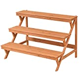 Wood Plant Stand Flower Pot Holder Shelf Display Rack Stand Step Ladder 3 Tier