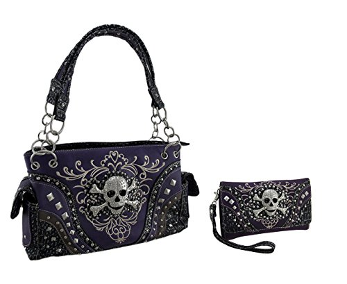 Purple Rhinestone Skull Metallic Trim Western Concealed Carry Purse/Wallet Set