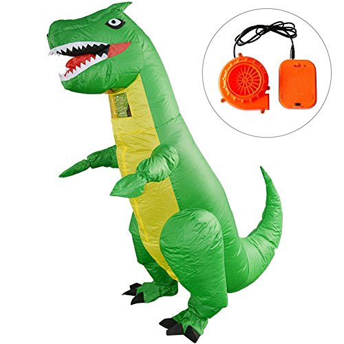 Lothver Green Dragon Inflatable Costume Halloween Fancy Dress Cosplay Animal Blow up Jumpsuit Party Props Performance Costume