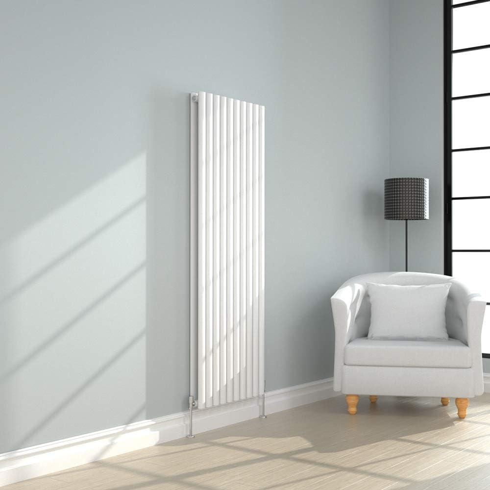 NRG Designer 1800x590mm Oval Cloumn Double Panel Radiator Vertical Bathroom Central Heating White