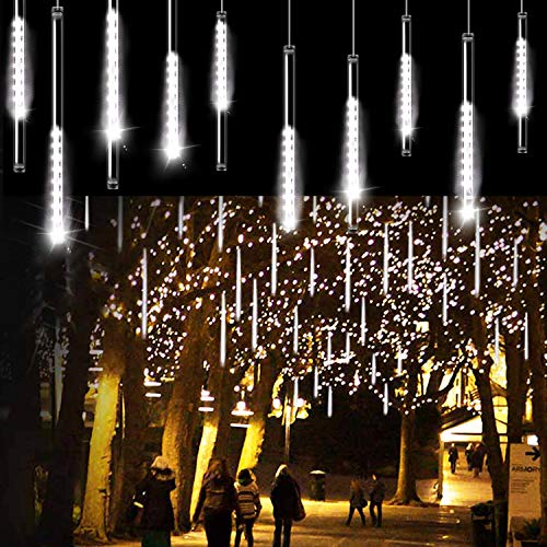 Aluan Christmas Lights Meteor Shower Rain Lights 10 Tube 240 LED 12 Inch Waterproof Plug in Falling Rain Fairy String Lights for Halloween Christmas Holiday Party Home Patio Outdoor Decoration, White