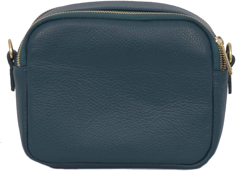 A to Z Leather Sac compact à bandoulière en cuir souple grainé pour femme doté de deux fermetures zippées et d'une poche porte-carte externe Turquoise