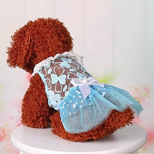 Für Tier AB060 reizende Katze-Kleid-Spitze-Hochzeit Röcke Kleider for Haustiere Partei-Kostüm, Größe: S (Pink) XY (Farbe : Blue)