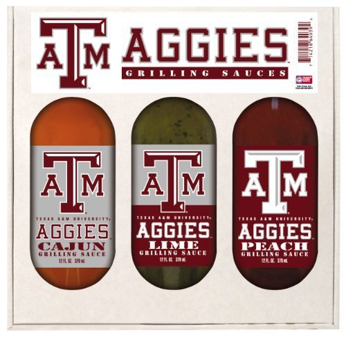 Texas A & M Aggies Grilling Gift Set 3-12 oz (Cajun, Lime and Peach) by Hot Sauce Harry's ()