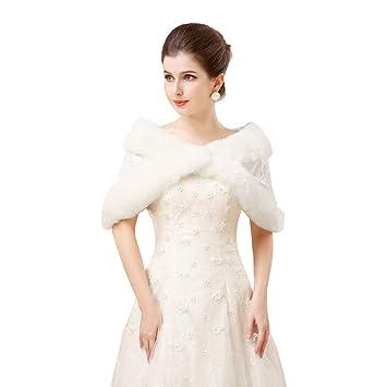 Invierno Elegante bordado Furry abrigos Capelets chales boda novia dama hombro capa Wraps vestido abrigo Tippet para mujeres color blanco: Amazon.es: Hogar