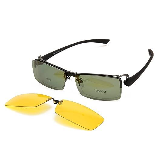66ab25bd06f Amazon.com  Langford TR90 Clip-On Polarized Sunglasses For Men