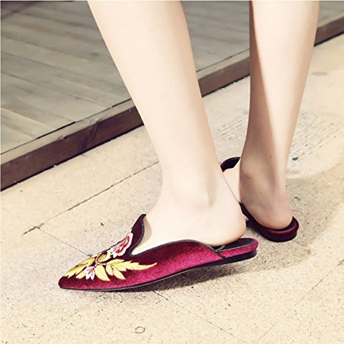 On Backless Velvet Women's Shoes Rot Blumen Slip Flat Mule Slipperss Embroidery Chic Jushee Loafers wxnBqXx