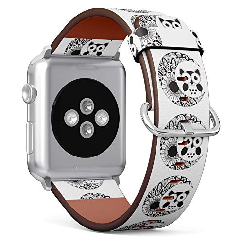 (an owl Sitting on The Moon with Mandala Ornament) Patterned Leather Wristband Strap for Apple Watch Series 4/3/2/1 gen,Replacement for iWatch 38mm / 40mm Bands