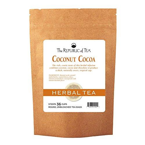 The Republic Of Tea Coconut Cocoa Cuppa Chocolate Herb Tea, 36 Tea Bags, Gourmet Low Caffeine Dessert Tea