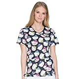 Cherokee Tooniforms Women's Mock Wrap Hello Kitty Print Scrub Top Small Print