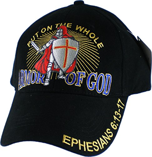 Put on the Whole Armor of God Embroidered Baseball Cap, Black, Adjustable