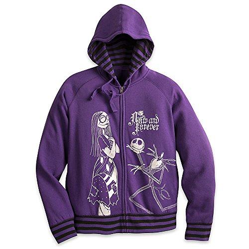 Disney Jack Skellington and Sally Hooded Sweatshirt for Adults Size Ladies L Purple