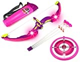 Light Up Night Princess Bow & Arrow Children's Kid's Toy Bow and Arrow Dart Playset w/Suction Dart Arrows, Holder, Target