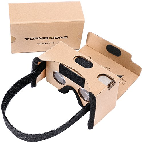 Google Cardboard,Topmaxions 3D VR Virtual Reality DIY Glasses For 3D Movies and Games Compatible with Android & Apple Up to 6 Inch Easy Setup Machine