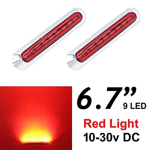 2pcs LEDVILLAGE Multi-Voltage 10v - 30v DC RED LED Sealed Light Clearance Universal Side Marker Light Trailer Truck with 9 LEDs + Chrome Rings