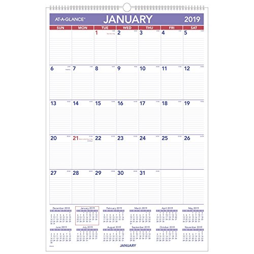 at-A-Glance Wall Calendar, Monthly, January 2019 - December 2019, 20