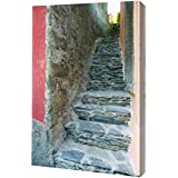 """Italy A narrow walkway in Manarola, Cinque Terre by Dennis Flaherty - 8"""" x 12"""" Gallery Wrapped Giclee Canvas Art Print - Ready to Hang"""