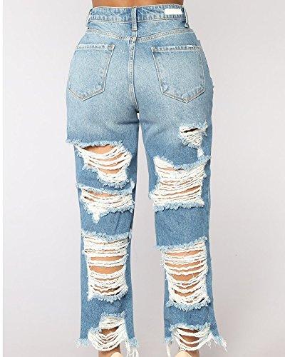 Collegio Donna Jeans AnyuA Vento Pantaloni Elegante Fori Chiaro Azzurro Strappati EStBBqxn