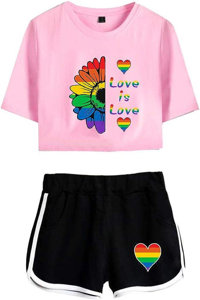 Love is Love LGBT Gay Lesbian Pride Mujer Conjunto de T-Shirt y Pantalones Cortos Ni/ñas Cuello Redondo Camisetas de Manga Corta y Shorts Ch/ándal de Deportiva para Yoga Fitness