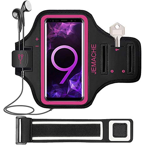 Galaxy S10/S9/S8 Armband, JEMACHE Gym Run/Jog/Exercise Workout Arm Band for Samsung Galaxy S10/S9/S8/S7 Edge with Key/Card Holder ()