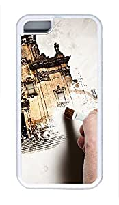 5C Case, iPhone 5C Case Galaxy Pattern Hand Painting Old Building Fun iPhone 5C Shoockproof White Soft Case Full Body Hybrid Impact Armor Defender Cover protective Case for iPhone 5C
