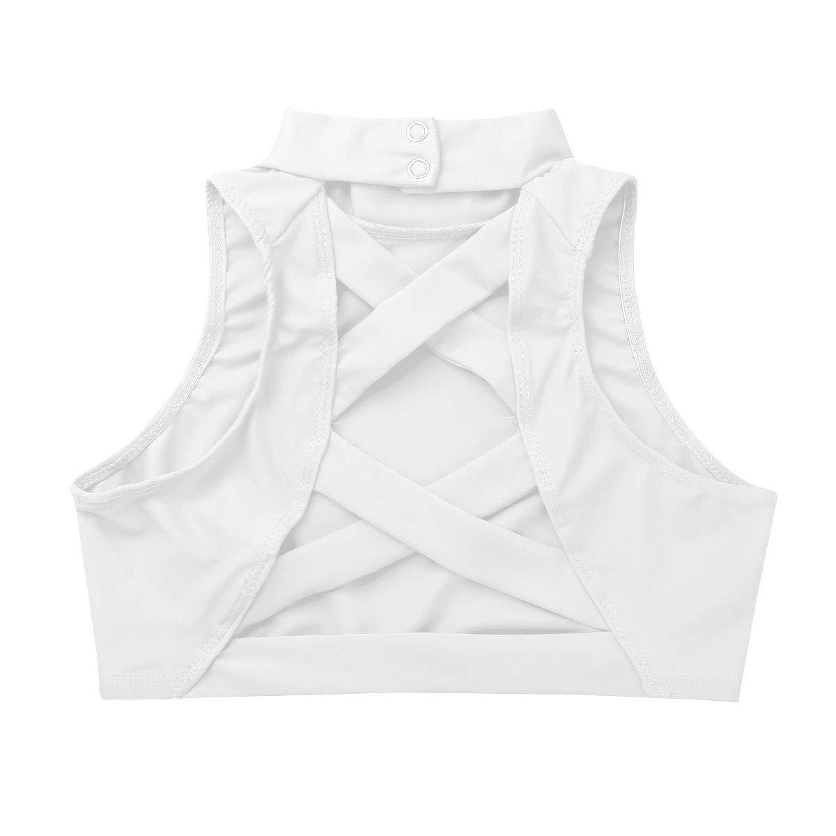 inlzdz Crop Top Deportiva Ni/ñas Camiseta Corta sin Manga Espalda Abierta con Correas Cruzada Chaleco Deportiva de Ballet Danza Ropa de Gimnasia para Ni/ñas 8-14 A/ños