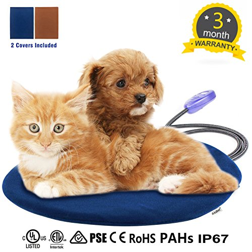 Asltoy Pet Heating Pad,Dog Cat Electric Warming Mat Heat Pad Pet Mat Warming Pad Waterproof Adjustable Chew Resistant Cord Warming Bed 2 Replace Soft Removable 11.8''x11.8'' (30×30cm) by Asltoy