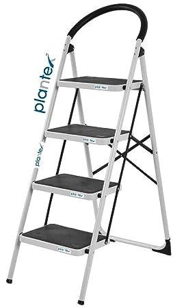 Plantex High Grade Heavy Steel Folding 4 Step Ladder for Home - 4 Wide Anti Skid Steps (Black & Silver)
