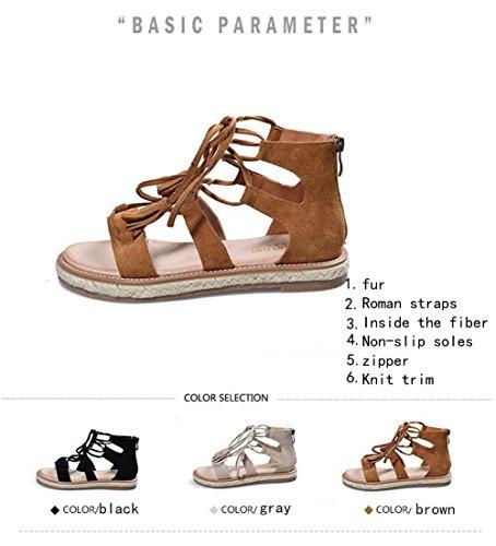 Sandals Stiletto Gladiador del De Zapatos Abierta Playa Sandalias Tobillo Punta Romana Peep Correa Negro Zapatillas Mujer vYEwXqx