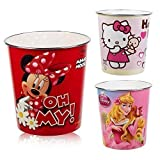 Disney & Hello Kitty Kids Waste Rubbish Bin Plastic