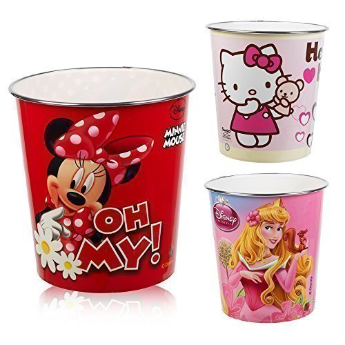 Disney & Hello Kitty Kids Waste Rubbish Bin Plastic (Minnie Mouse Oh My!)