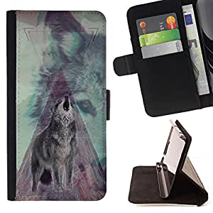 - Wolf Retro - - Style PU Leather Case Wallet Flip Stand Flap Closure Cover FOR Apple Iphone 6 PLUS 5.5 - Devil Case -