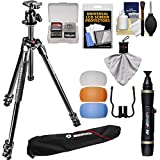 Manfrotto 290 Xtra 67'' Professional Tripod with Ball Head & Case Kit with Flash Diffusers & DSLR Cleaning Kit