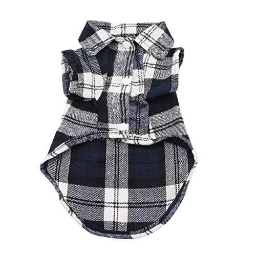 YAODHAOD Pet Fashion Plaid Shirt Pet Dog Clothes, Pet Plaid Clothes Shirt (XS, Black) ()