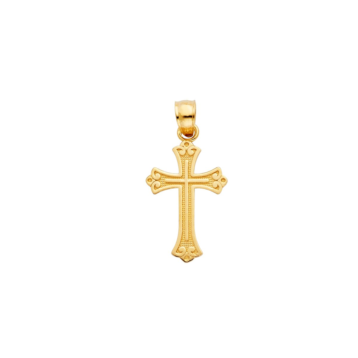 Weight 0.8 Grams TGDJ 14k Yellow Gold Cross Religious Pendant Height 18 MM Width 13 MM Avg