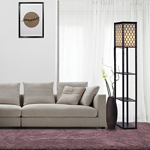 Costzon Shelf Floor Lamp, 3 Storage Shelves Lamp, 63 Inch Height, Switch on/off, ETL Approved, Grid Shade