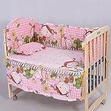5Pcs Cotton Baby Children Bedding Set Baby Crib Bed Bumper Mattress Pillow (Pink Princess)