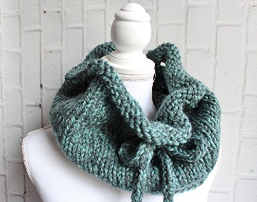Women's custom chunky drawstring crochet scarf cowl