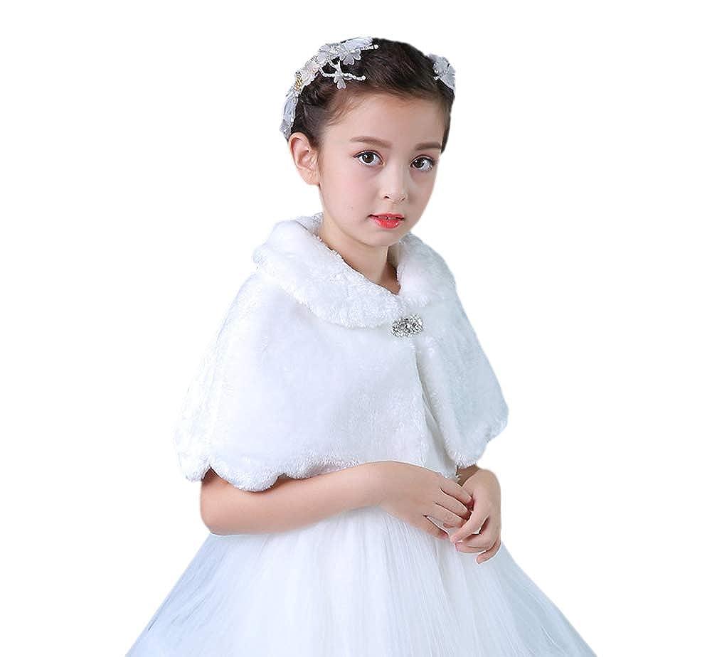 Tortor 1Bacha Kid Wedding Flower Girl Faux Fur Princess Stole Shawl Wrap White